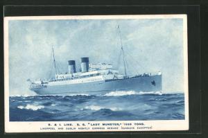 AK Passagierschiff S.S. Lady Munster auf hoher See