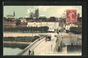 AK Sens, Entree de la Ville par le Pont de l`Yvonne, Strassenbahn