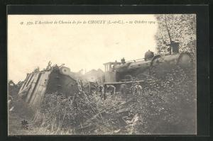 AK Chouzy, l'Accident de Chemin de fer 1904, Eisenbahnkatastrophe