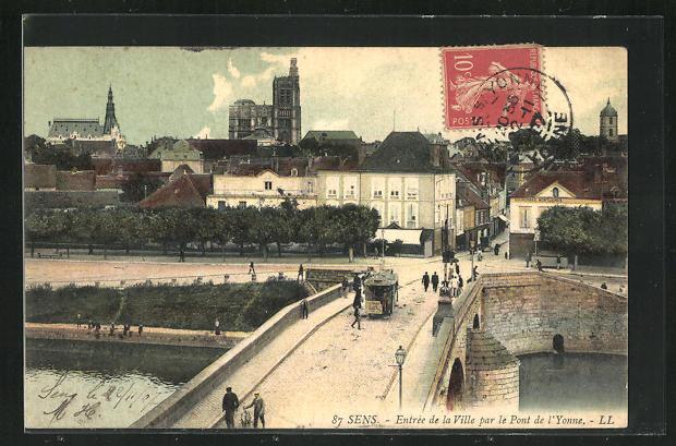 AK Sens, Entree de la Ville par le Pont de l'Yonne et Tramway 0