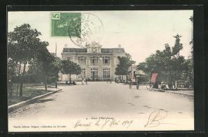 AK Haiphong, La Gare, Strassenpartie am Bahnhof