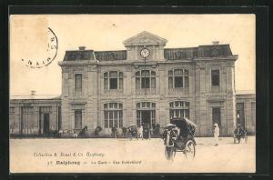 AK Haiphong, La Gare, Vue Extérieure, Bahnhofsgebäude