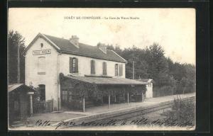 AK Vieux-Moulin, La Gare, Bahnhof von der Gleisseite betrachtet