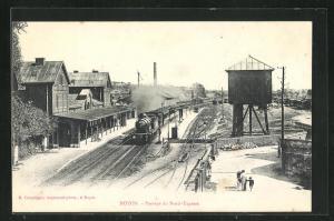 AK Noyon, Passage du Nord-Express, Bahnhof mit einfahrendem Zug