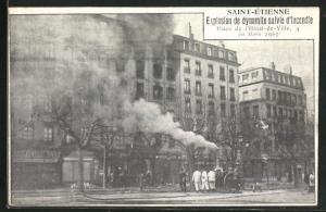 AK Saint-Etienne, Explosion de Dynamite et Incendie Place de l'Hotel-de-Ville 1907