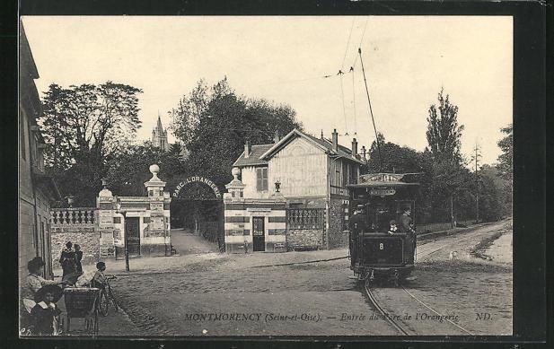 AK Montmorency, Entrée du Parc de l`Orangerie, Strassenbahn 0