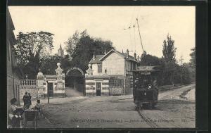 AK Montmorency, Entrée du Parc de l`Orangerie, Strassenbahn