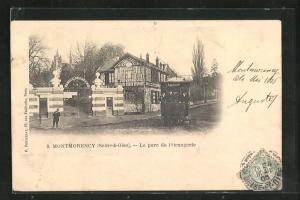 AK Montmorency, Le parc de l`Orangerie, Strassenbahn am Eingang