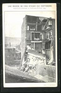 AK St-Etienne, Une Maison de Cinq Étages qui s`Effondre, 1904, Eingestürztes Haus