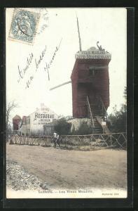 AK Sannois, Les Vieux Moulins, Café-Restaurant des Vrais Moulin, Windmühle