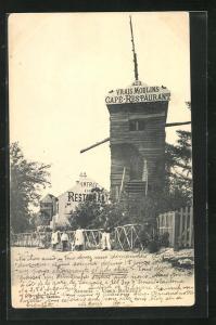 AK Sannois, Vieux Moulin, Café-Restaurant des Vrais Moulin, Windmühle