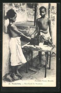 AK Pondichéry, Marchand de Bonbons, Süsswarenverkäufer
