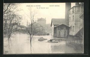 AK Saint Denis, Strassenpartie, Hochwasser 1910