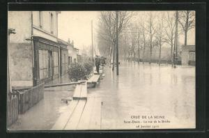 AK Saint Denis, La rue de la Briche, Hochwasser 1910