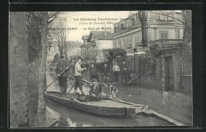 AK Saint Denis, Le Quai du Moulin, Hochwasser 1910