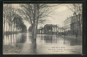 AK Saint Denis, La Briche, vue d`Ensemble, Hochwasser 1910