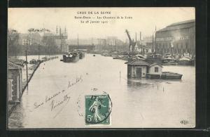 AK Saint Denis, Les Chantiers de la Loire, Hochwasser 1910