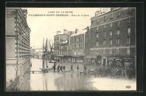 AK Villeneuve-Saint-Georges, Place de la Gare, Hochwasser