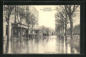 AK Champigny, Place du Marchè, Hochwasser 1910