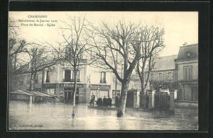 AK Champigny, Place du Marchè, Eglise, Hochwasser 1910