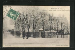 AK Corbeil, Inondations de 1910, Avenue Darblay et rue du Général Lucotte, Hochwasser