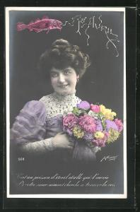 AK Junge Frau mit Blumen in der Hand, Fisch grüsst zum 1. April