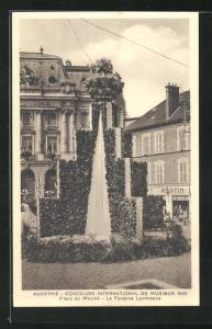 AK Auxeree, Concours International de Musique 1934, Place du Marche, La Fontaine Lumineuse