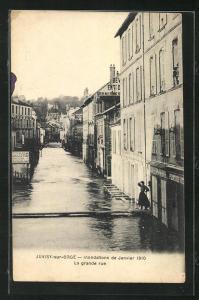 AK Juvisy-sur-Orge, Hochwasser Januar 1910, La grande rue