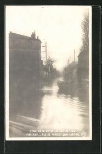 AK Puteaux, Hochwasser Januar 1910, Rue de Pariset, Quai National