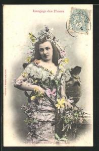 AK Langage des Fleurs, Orchidée, Amour par ambition, Blumensprache