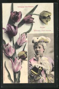 AK Langage des Fleurs, Tulipe - Déclaration, Amitié constante, Blumensprache