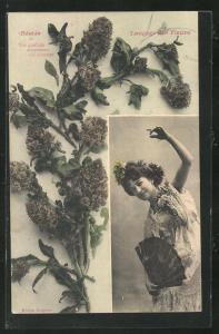 AK Langage des Fleurs, Réséda - Vos qualités surpassant vos charmes, Blumensprache