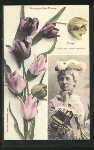 AK Langage des Fleurs, Tulipe - Déclaration, Amitié constante