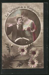 AK Langage de la Marguerite, Blumensprache, Liebespaar