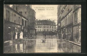 AK Puteaux, Crue de la Seine 1910, Rue de Paris, Hochwasser