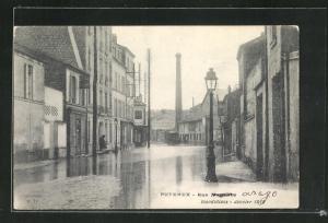 AK Puteaux, Inondations, Janvier 1210, Rue Magenta, Hochwasser