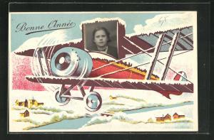 Foto-Collage-AK Bonne Année, Mädchenportrait in Passepartout, Flugzeug