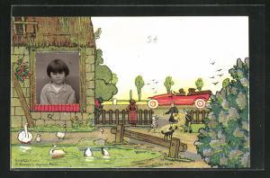 Foto-Collage-AK Mädchenportrait, Passepartout, Bauernhaus