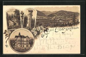 Lithographie Bad Ilmenau, Kurhotel Dr. Pipersche Wasserheilanstalt, Goethe-Häuschen