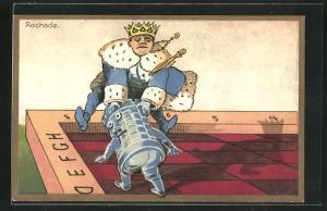 Künstler-AK Züge beim Schach, Rochade