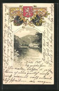 Passepartout-Lithographie Bad Reinerz, Blick übers Wasser zur Schmelze, Wappen
