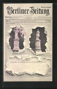 Zeitungs-AK Berlin-Tiergarten, Denkmäler der Königin Luise und Friedrich Wilhelm III., Berliner Zeitung