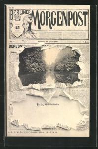 Zeitungs-AK Berlin-Tiergarten, Ansicht vom Goldfischteich auf dem Titelblatt der Berliner Morgenpost
