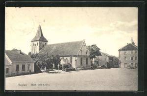 AK Tapiau, Markt mit Kirche