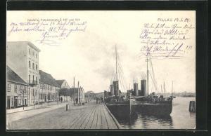 AK Pillau, Ilskefalle-Strasse, Hafen mit Torpedobooten S 107 und 124
