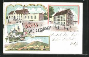 Lithographie Weigelsdorf, Gasthof Deutscher Hof, Fulde`s Warenhandlung, Wiesenschloss