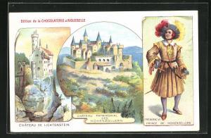 Lithographie Honau, Burg Lichtenstein, Burg Hohenzollern, Reklame für Chocolaterie d`Aiguebelle
