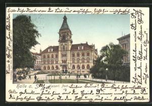 Goldfenster-AK Halle a. S., Kaiserl. Post mit leuchtenden Fenstern