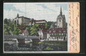 Seiden-Imitations-AK Gera, Schloss Osterstein