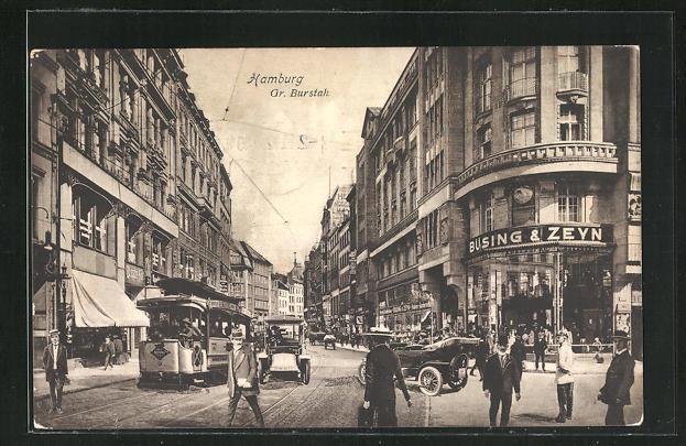 AK Hamburg, Gr. Burstah mit Strassenbahn 0